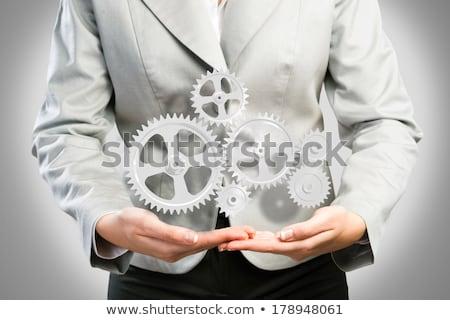 donna · d'affari · up · meccanismo · attrezzi · pronto · soluzioni - foto d'archivio © adam121