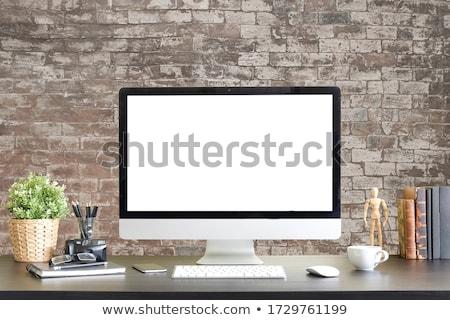 Asztali számítógép modern kék képernyő izolált fehér Stock fotó © Harlekino