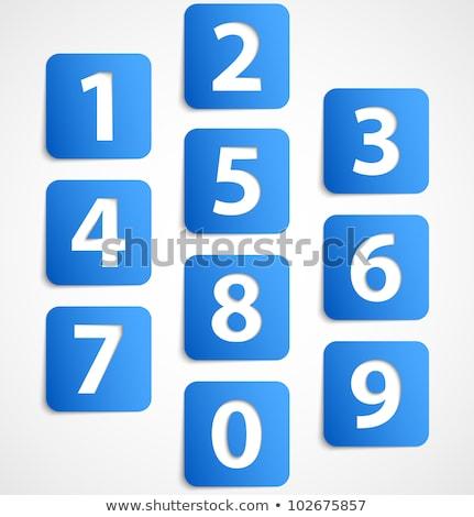 5 number vector blue web icon stock photo © rizwanali3d