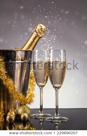 vidro · champanhe · dois · metal · natal - foto stock © Rob_Stark