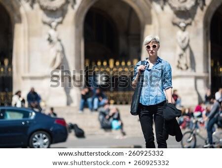 blonde woman portrait in front of Opera theater Paris, France. Stock photo © sarymsakov