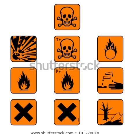 Warning Sign Orange Vector Button Icon Design Set Stock photo © rizwanali3d