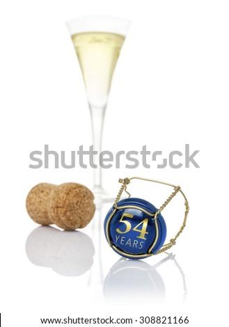 Champagne cap opschrift jaren verjaardag nummers Stockfoto © Zerbor