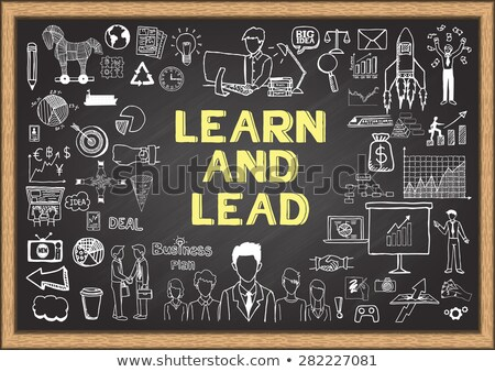 Stock photo: Learn and Lead Concept Hand Drawn on Chalkboard.