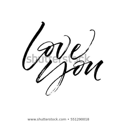 愛 · 手描き · フレーズ · かわいい · 中心 - ストックフォト © mcherevan