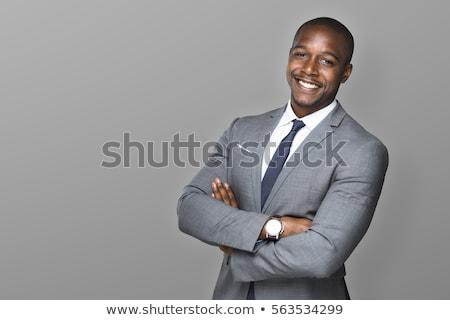 bello · nero · imprenditore · giovani · uomo · d'affari · posa - foto d'archivio © zdenkam