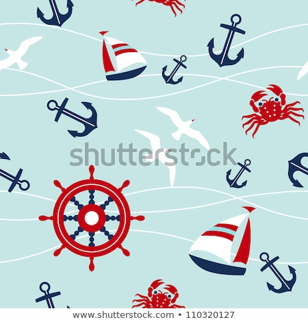 vector set of seamless sailboat pattern background stock photo © adrian_n