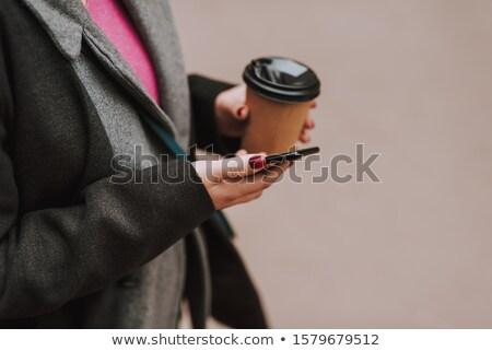 young girl drinking cofee Stock photo © lubavnel