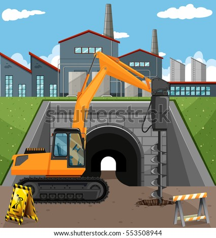 road construction scene with driller stock photo © bluering