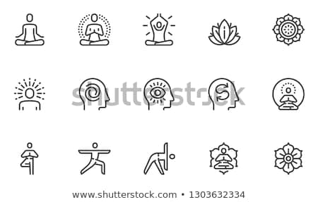 yoga line icons set stock photo © voysla