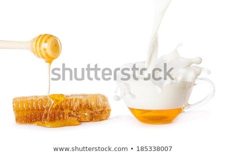 Foto d'archivio: Miele · cadere · jar · latte · vetro · bianco
