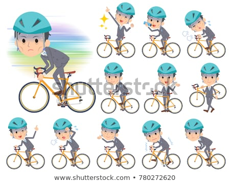 Gray Suit Businessman on rode bicycle Stock photo © toyotoyo
