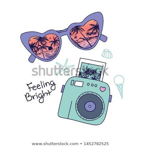 Yaz plaj kamera imzalamak simge vektör Stok fotoğraf © vector1st