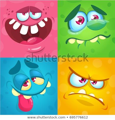 Pomarańczowy obcych głowie cartoon ikona wektora Zdjęcia stock © cidepix