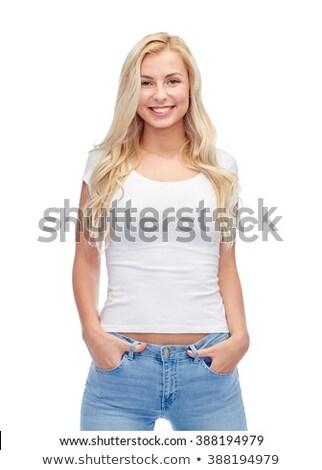 Sevimli kız beyaz gömlek siyah Stok fotoğraf © fotoduki