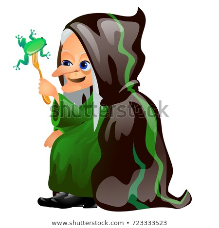 Old gray-haired witch in a black cloak eats with a fork frog isolated on white background. Sketch fo Stock photo © Lady-Luck