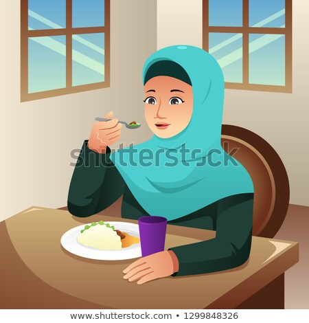Muslim Woman Eating Breakfast At Home Illustration Stockfoto © Artisticco