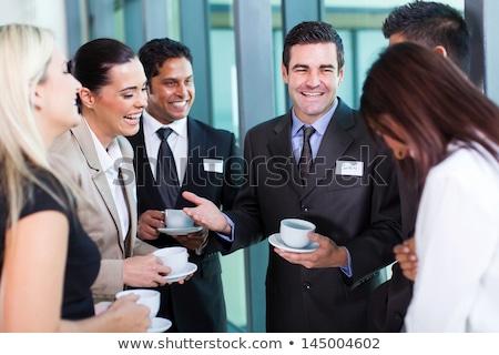 jonge · knap · zakenman · drinken · koffie · kantoor - stockfoto © elnur