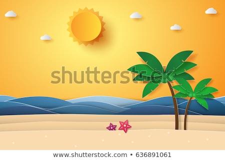 Seaside Seashore Sunny Beach Vector Illustration Stock photo © robuart