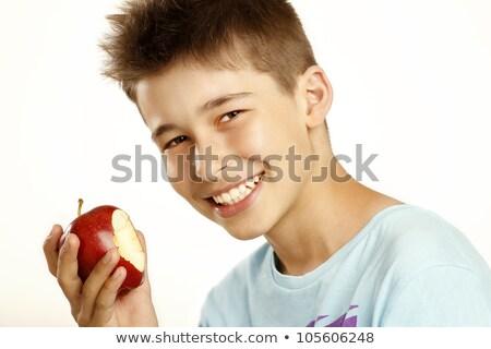 愛らしい 少年 バランス 赤いリンゴ リンゴ ストックフォト © ilona75