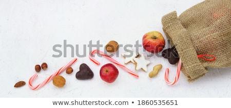 Cukorka sütik mandulák tábla étel karácsony Stock fotó © dolgachov