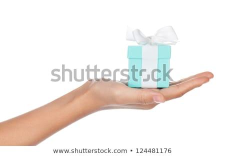 Női kezek pici ékszerek doboz piros Stock fotó © konradbak