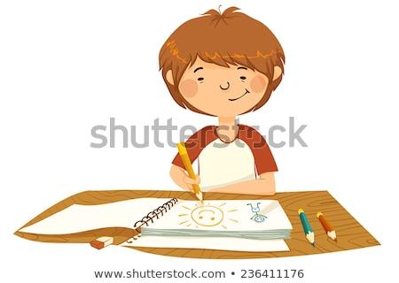 ベクトル · 少年 · 図面 · 紙 · ペン · 鉛筆 - ストックフォト © olllikeballoon