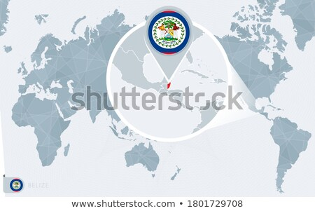Belize map located on a world map with flag and map pointer or pin. Infographic map. Vector illustra Stock photo © kyryloff