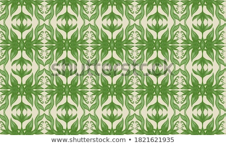 seamless pattern with green leaves in flat style simple shapes herbarium nature elements repeati stock photo © user_10144511