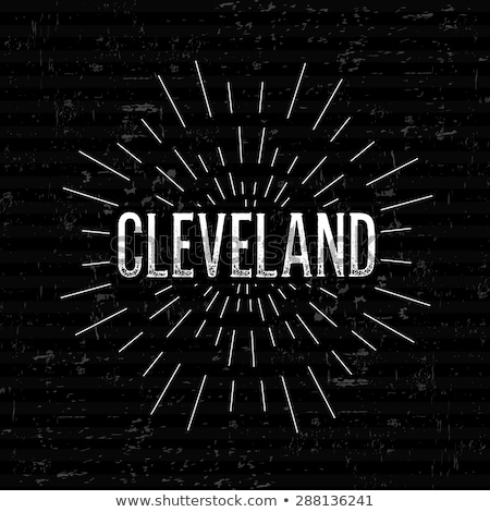 cleveland skyline in text isolated vector graphic illustration stock photo © jeff_hobrath