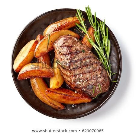 Сток-фото: картофеля · мяса · пластина · жареный · продовольствие · сердце
