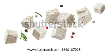 Stock photo: Fresh feta cheese with spices