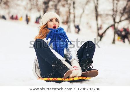 девушки сани снега иллюстрация зима смешные Сток-фото © adrenalina