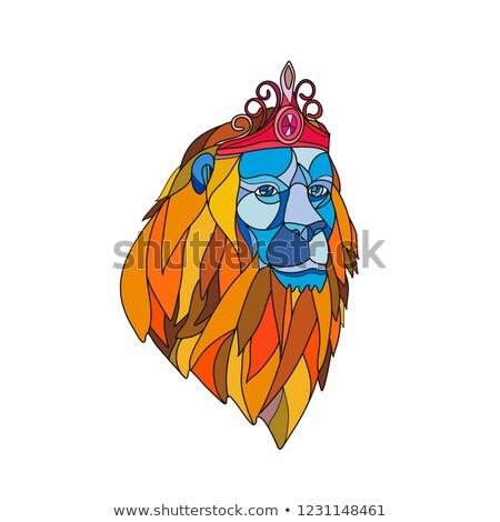 Lion Wearing Tiara Mosaic Color Stock photo © patrimonio