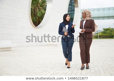 młoda · kobieta · pracy · na · zewnątrz · komputera · pitnej · kawy - zdjęcia stock © szefei