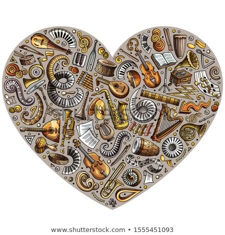 Zestaw cartoon gryzmolić musical obiektów serca Zdjęcia stock © balabolka