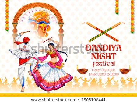 Promotional banner for Dandiya in disco Garba Night poster for Navratri Dussehra festival of India Stock photo © vectomart