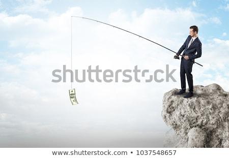 dólar · rocha · nublado · blue · sky · ilustração · 3d · negócio - foto stock © ra2studio