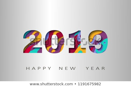 fun stylish happy 2019 new year party flyer stock photo © barsrsind