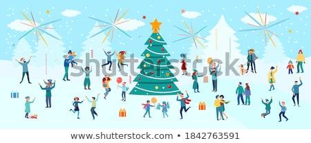 Foto stock: Feliz · crianças · festa · presentes · fogos · de · artifício · ilustração