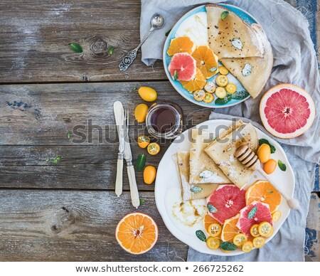Gezonde ontbijt vers hot pannenkoeken crêpe Stockfoto © Melnyk