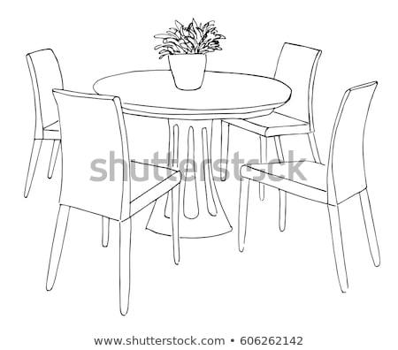 Salle à manger table vase fleurs dessinés à la main croquis Photo stock © Arkadivna
