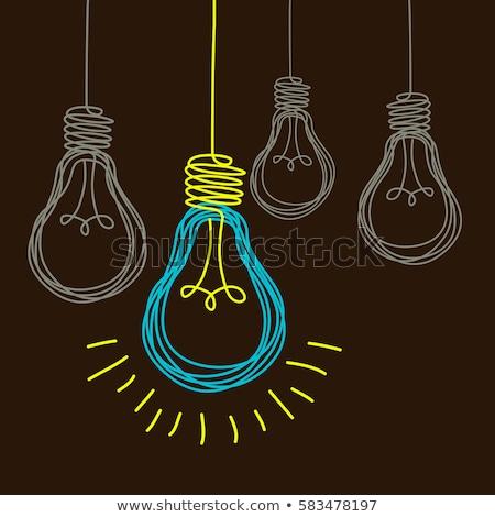 tableau · idées · sombre · ampoule · illustration · équipe - photo stock © kbuntu
