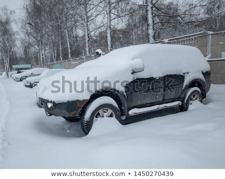 carro · coberto · neve · inverno · estrada · céu - foto stock © blasbike