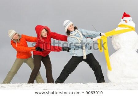 три · молодые · девочек · снеговик · желтый - Сток-фото © Paha_L