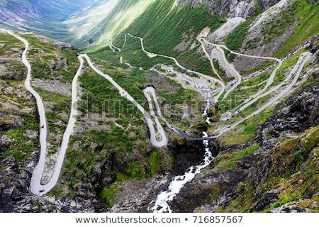 verde · montana · carretera · peligroso · curvas · naturaleza - foto stock © naumoid