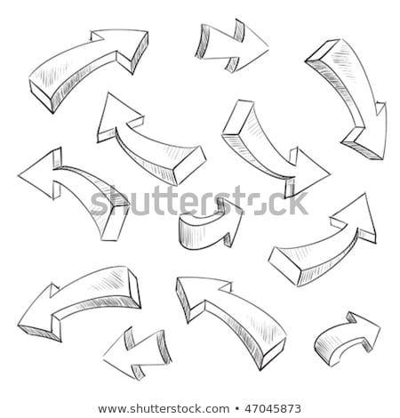 3d arrows 3d arrow sketchy design elements set stock photo © dacasdo