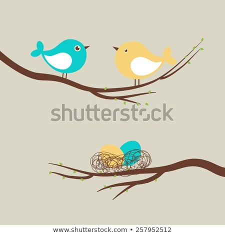Stock photo: ornament two birds in a nest