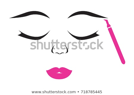 Stock photo: applying cosmetic pencil on closed eye