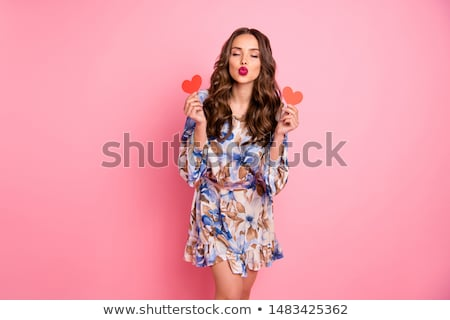Beautiful woman and Cupid Stock photo © konradbak